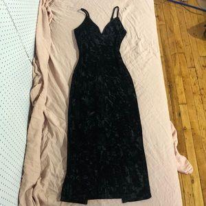 Black Crushed Velvet Midi Slip Dress w/ Slit Small